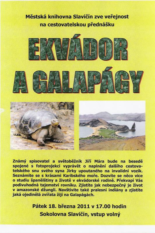 Ekvádor a Galapágy - pozvánka na besedu, obrázek se otevře v novém okně