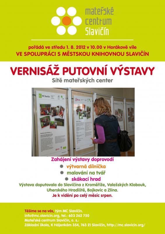 Pozvánka-Putovní výstava mateřských center Zlínského kraje 2012, obrázek se otevře v novém okně