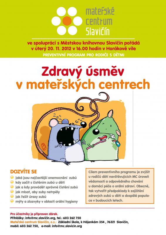 Plakát - Zdravý úsměv - přednáška 2012, obrázek se otevře v novém okně