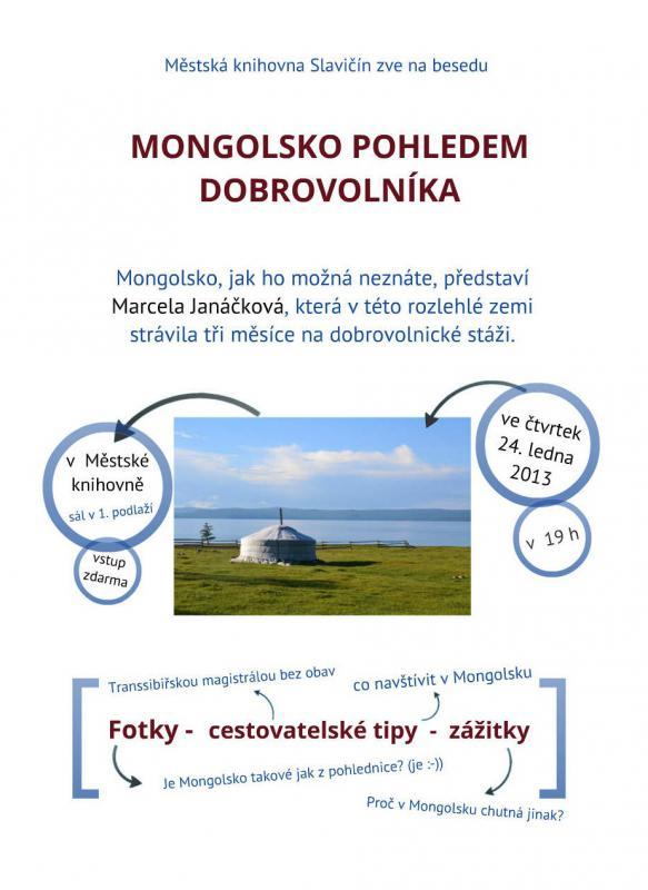 Pozvánka - beseda o Mongolsku 2013, obrázek se otevře v novém okně