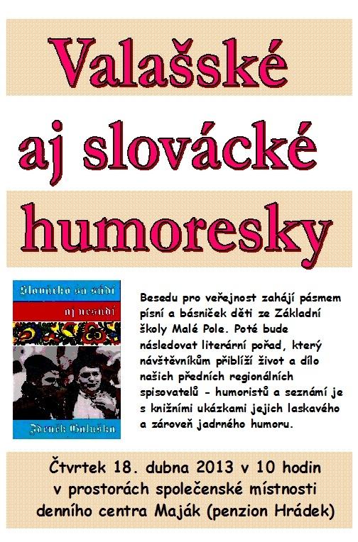 Valašské aj slovácké humoresky - pozvánka 2013, obrázek se otevře v novém okně