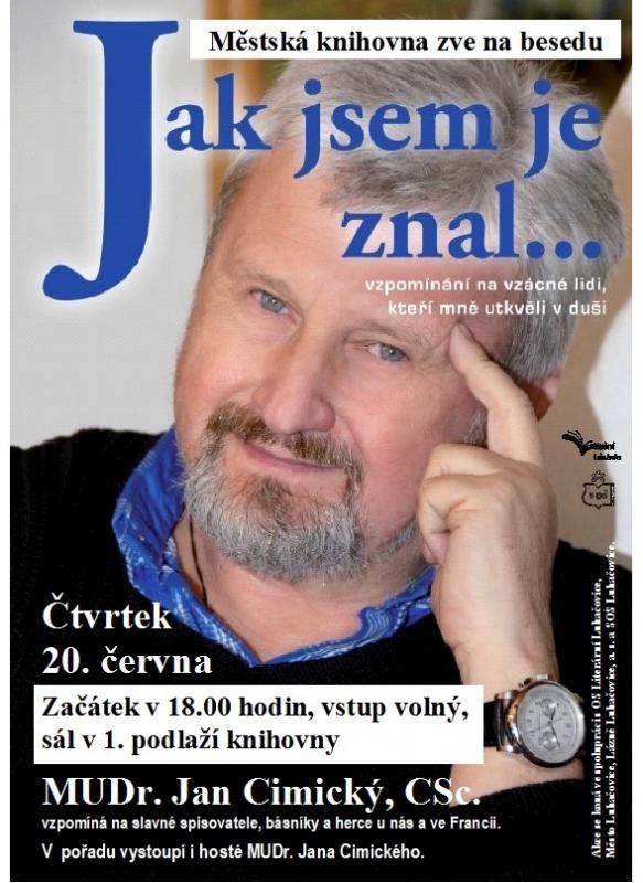 Pozvánka - Beseda - Jan Cimický 2013, obrázek se otevře v novém okně