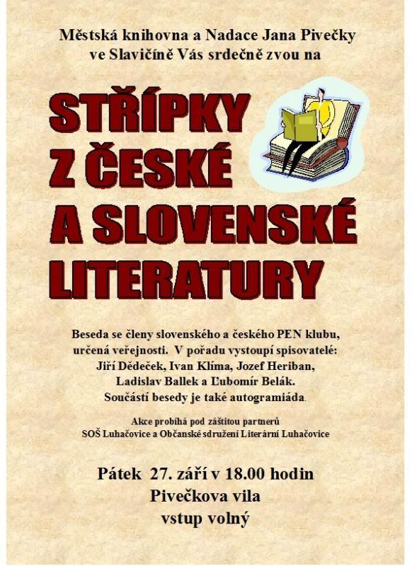 Pozvánka - Střípky české a slovenské literatury 2013, obrázek se otevře v novém okně