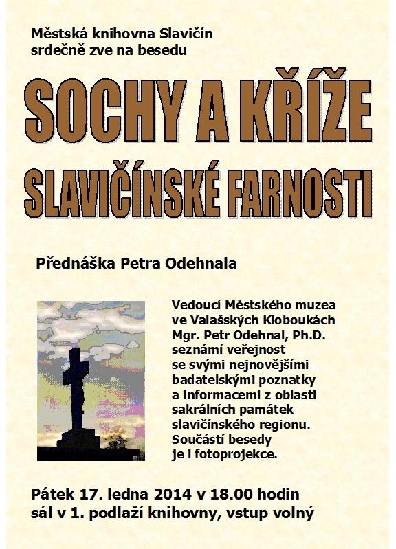 Pozvánka - beseda Sochy a kříže - P. Odehnal 2014, obrázek se otevře v novém okně