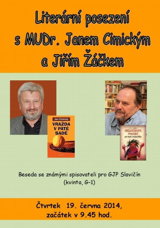 Plakát, J. Cimický, J, Žáček 2014 - pro GJP, obrázek se otevře v novém okně