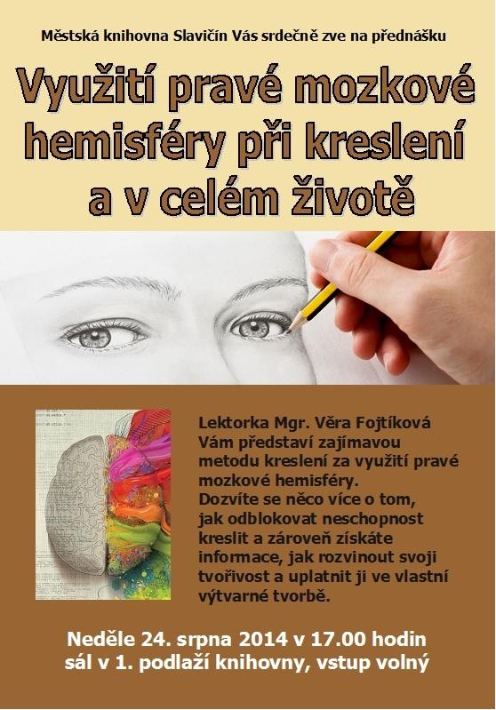 Pozvánka - Využití pravé mozkové hemisféry v kreslení - 2014, obrázek se otevře v novém okně