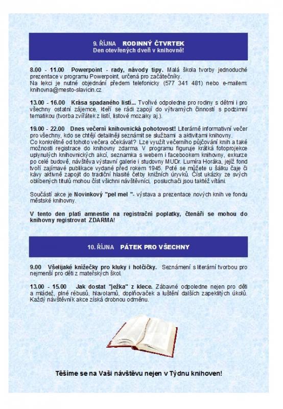 Pozvánka - Týden knihoven - 2- 2014, obrázek se otevře v novém okně