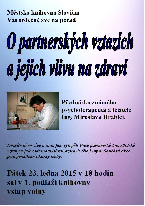 Pozvánka - Beseda Partnerské vztahy - M. Hrabica 2015, obrázek se otevře v novém okně