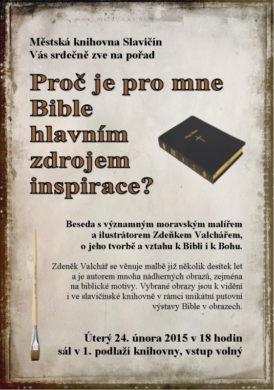 Pozvánka - beseda s p. Valchářem - Můj vztah k Bibli 2015, obrázek se otevře v novém okně