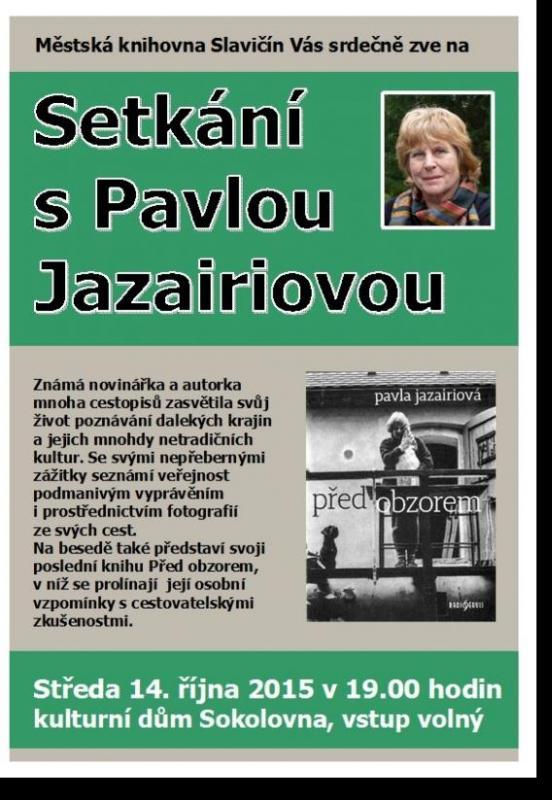 Setkání s Pavlou Jazairiovou - pozvánka 2015, obrázek se otevře v novém okně
