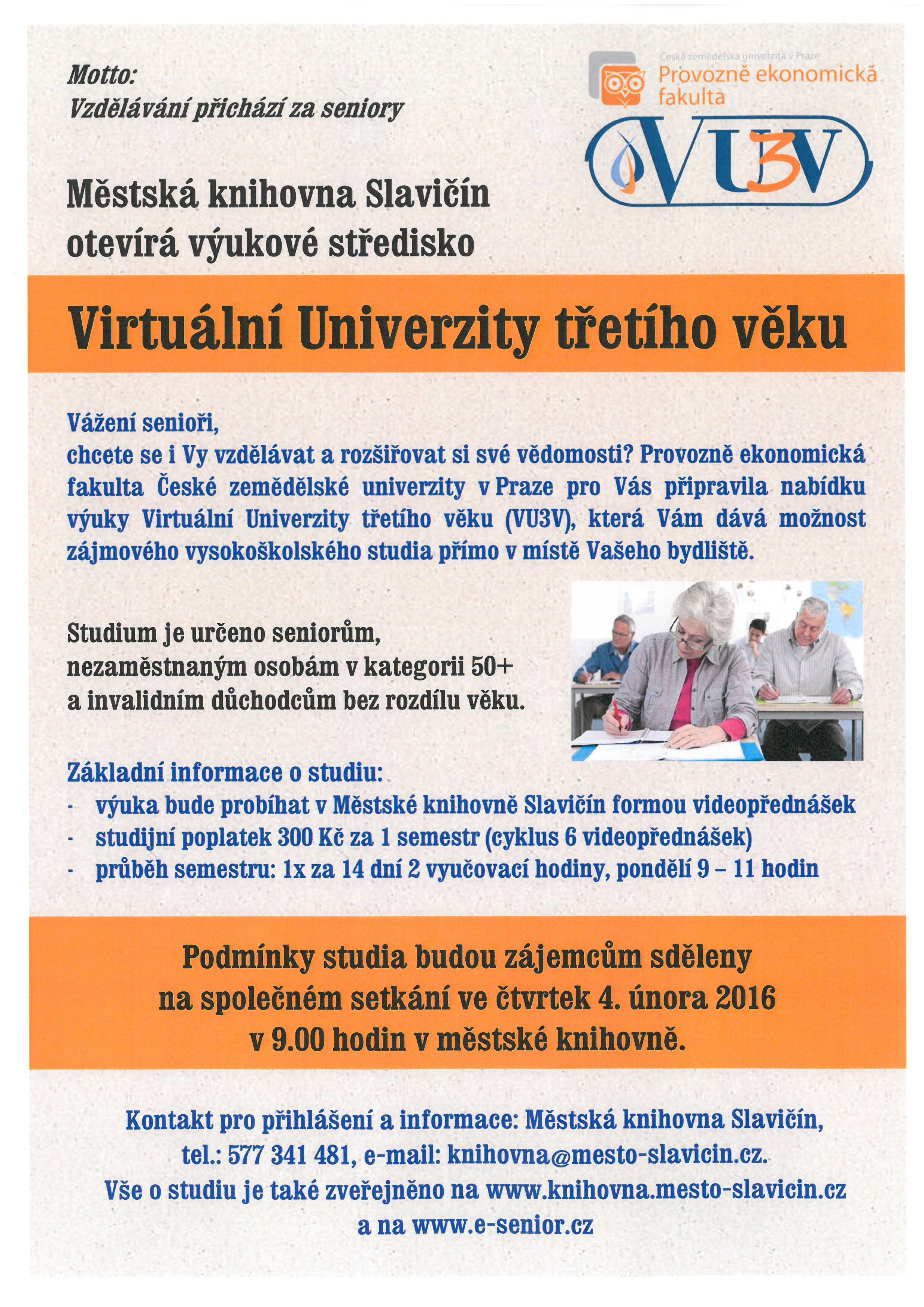 Virtuální univerzita třetího věku - plakát 2016, obrázek se otevře v novém okně