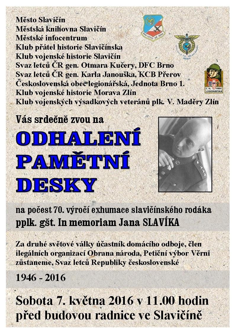 Odhalení pamětní desky Jan Slavík   final, obrázek se otevře v novém okně